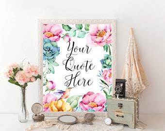 arte de pared para imprimir presupuesto personalizado Colibrí Pájaro floral personalizado nombre Biblia cita flores acuarela rosa dulce impresión tu propia decoración moderna