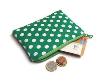 Small Coin purse, Zipper pouch, Phone wallet, Makeup bag, Jewelry pouch, Gadget case, Organize, Cosmetic case, Polka Dot, Green