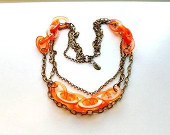 Vintage ZAD Antiqued Brass Multi Layer with Large Orange Lucite Links Necklace