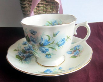 Royal Albert  Un-named BLUEBELLS Countess Shape Bone China Tea Cup and Saucer - Made in England