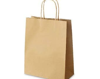 5 x Kraft Paper Bags with Handle / Brown / Kraft Shopping Bags / Weddings / Gift bags / Favor bags / Black Paper Bags / Kraft Gift Bags