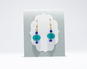 Oval Glass dangle earrings - Teal with Blue and Gold