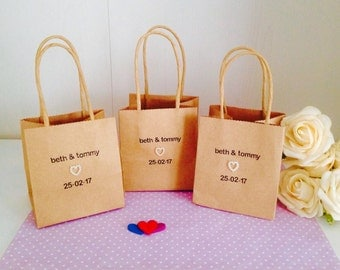 Personalised Wedding Favour Bags  -Packs of 10 - Handmade Wedding Favour Bags - Personalised Wedding Table Decorations