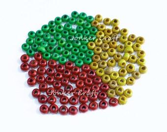Rasta Wooden Beads Reggae Rastafarian Bead Lot 150 Pieces Green Yellow Red 5mm x 3mm Small Size Hole 1mm
