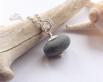 Scottish Beach Stone and Sterling Silver Necklace - Pebble from Scotland