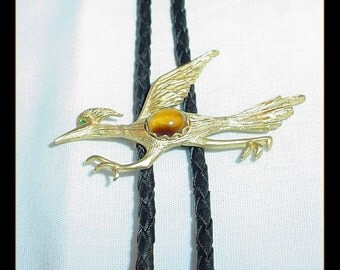 Roadrunner Vintage Bolo Tie with Tiger Eye Cabochon