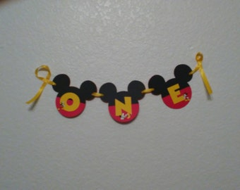 """Mickey Mouse High Chair Banner. Mickey Mouse """"ONE"""" Banner,Mickey Mouse Birthday Banner"""