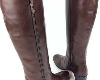 Salvatore Ferragamo Hand Made For Saks Fifth Avenue Tall Zipper Fine Grain Soft Leather Fashion Heel Women's Boots Sz. 7 1/2 B