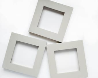 4x4 Picture Frame - Taupe - Frame for 4x4 Tiles, Instagram Prints or Needlework. Solid Wood Frame.