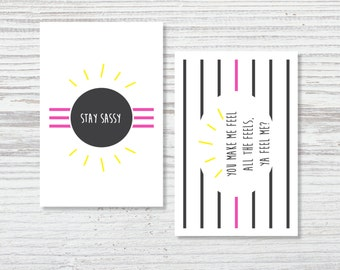 Tiny Notes | Sassy Notecards | Set of 10 | Stay Sassy, Ya Feel Me?