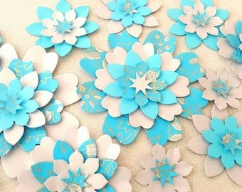 Blue and silver paper flowers