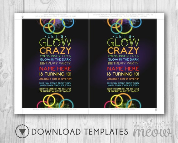 Let S Glow Crazy Invitation Glow In The Dark Invites Party