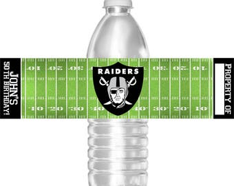 Printable Oakland Raiders Football Birthday Party Water Bottle Labels 16.9 oz Water Party Favors Baby Shower Bar Mitzvah
