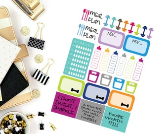 Fitness Sampler Stickers! Perfect for your Erin Condren Life Planner, calendar, Paper Plum, Filofax!