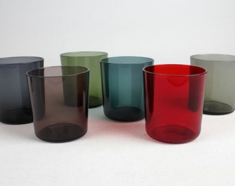 60s set of 6 multi colored crystal glases, Mid Century
