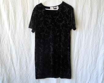90s Black Velvet with Silver Sparkly Flowers Mini Dress