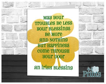 St Patrick's Day Card, An Irish Blessing, Gold Foil Shamrock, Holiday Greeting Card, Instant Download, Digital Printable, 5x7 Card