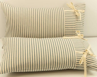 Farmhouse Pillow Cover, Ticking pillow, French Mattress Cushion, Lumbar Pillow