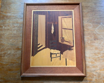 Large Vintage Creative Designs Wood Inlay Marquetry Picture Cat Interior Ossining NY Hudson River Inlay