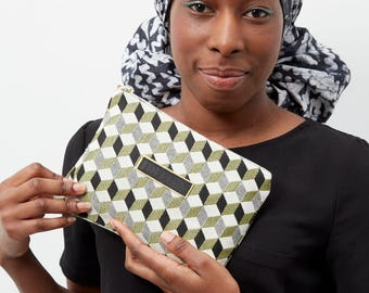 Zippered pouch- Black and yellow