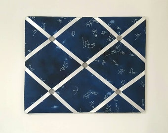 Constellation French Memo Board - Space Memo Board - Space Pin Board - Space Memory Board - Blue Fabric Ribbon Board - Blue Bulletin Board
