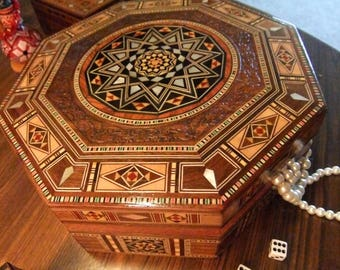 Jewelry Box Mother of Pearl Inlay, Seashell Inlaid Mosaic,  Keepsake box with Islamic Geometric Pattern.9.7'' Width 2.11''height.