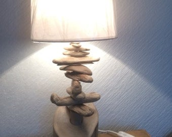 Driftwood table lamp, log Base with driftwood pieces . 40 cms