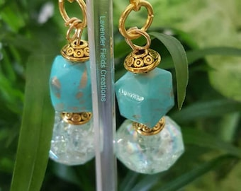 Teal and Gold Drop Earrings (201759E)