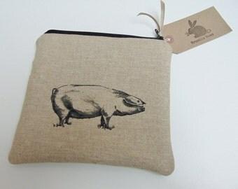 Handmade Pig  Makeup Bag, Pig Breeds Fabric, Piggy Linen, Pigs Padded Pouch