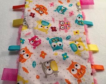 Taggie Mini-Blanket Burp Pad ~ Owls & Minky Fleece, Owls, Taggie, Fleece, Blanket