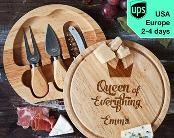 Queen of Everything - personalised Cheese board, Laser Engraved custom serving board