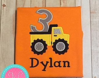 Dump truck construction Personalized/Custom embroidered BIRTHDAY SHIRT