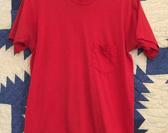 Vintage Distressed 1980s Red Pocket Tee Mens Size Small