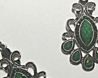 Green Crystal Tibetan Silver Earrings ON SALE