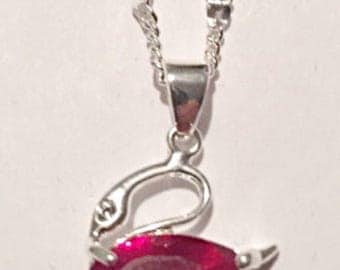 Silver Swan Ruby CZ Pendant Necklace