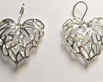 Silver Plated Large Hollow Heart Earrings