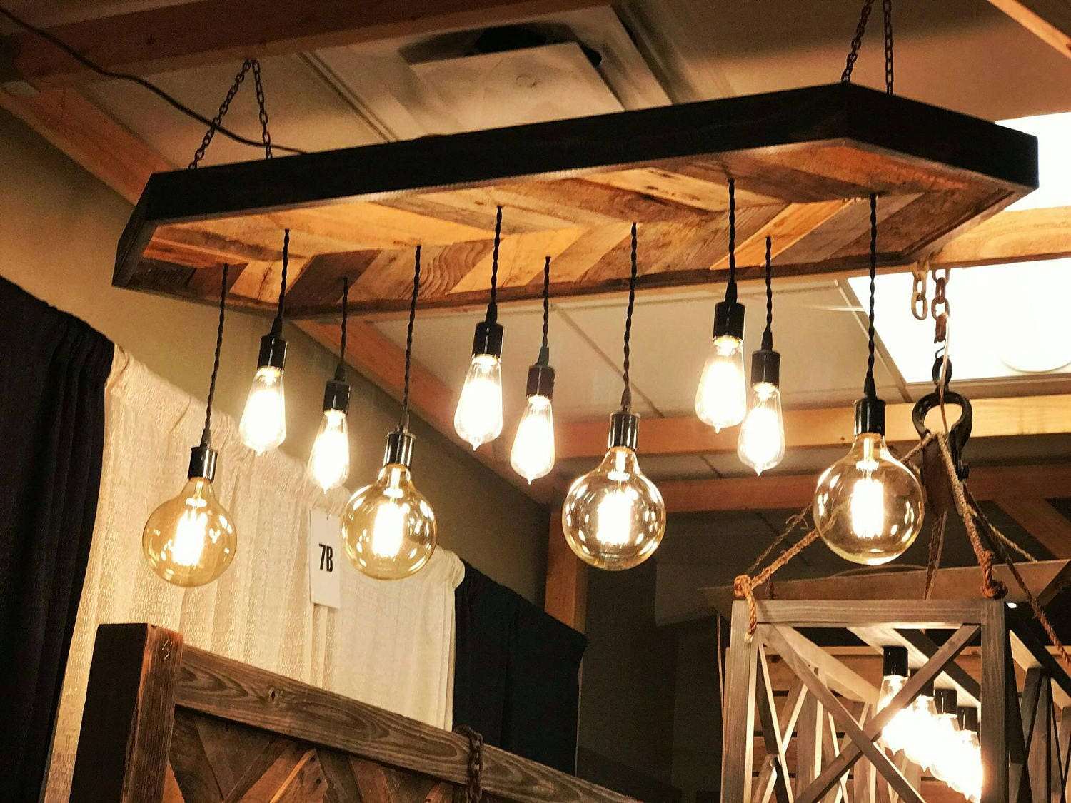 chevron pendant light chandelier - reclaimed wood canopy and