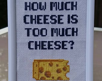 It's always sunny in philadelphia inspired completed cross stitch. Charley Kelly funny cheese quote.