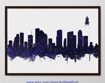 Houston Print Skyline Stars Navy Black Watercolor, Houston Texas Print, Houston Cityscape Painting, Houston Wall Art, Houston Decor (A0565)