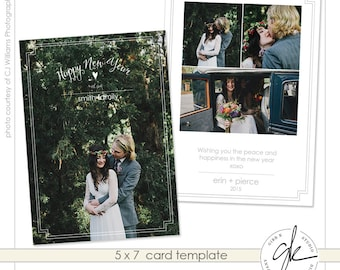 INSTANT DOWNLOAD - New Years card template - vertical - flat 5 x 7 - Gibb Co Studio A1442