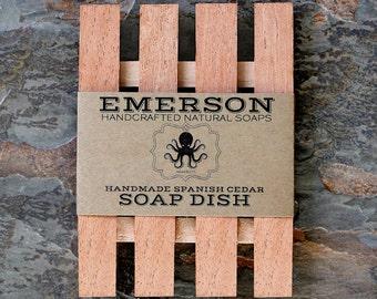 Cedar Soap Dish • Natural, Hand Cut, Fragrant Cedar Soap Dish, Low Profile