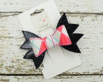 Pink Argyle Hair Bow - Cheer Bow - Pink, Blue, White, Black Bow - 4 inch - Specialty Bow - Hair Accessory - Hair Clip