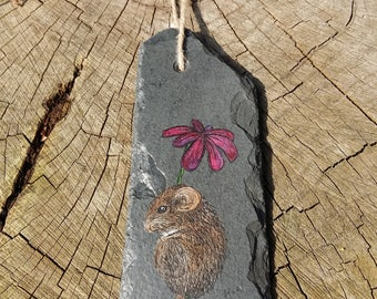 Mouse & Pink Flower - Handpainted Reclaimed Slate Wall Hanging