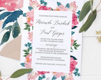 Floral Wedding Invitations, Watercolor Invites, Bohemian Floral Wedding Invitation Suite, Set