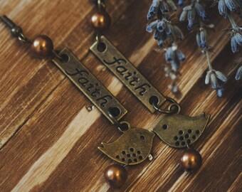 Vintage Retro Hippy Bronze Faith Tag Birds charm earrings