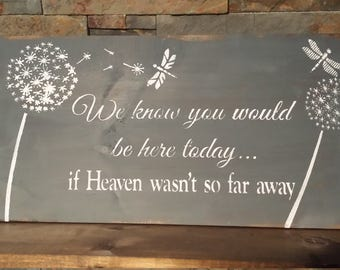 HEAVEN QUOTE Sign/SYMPATHY Gift/Wedding Display Sign/Reunion Memorial