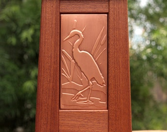 Arts and Crafts Mission Style Copper Tile Framed in Solid Sapele Wood (Heron Design SH5-16)