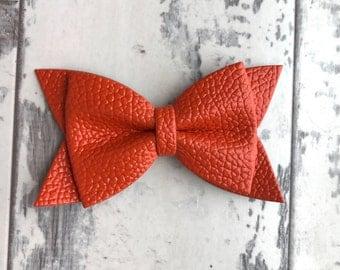 Toasted Orange Daphne faux leather bow