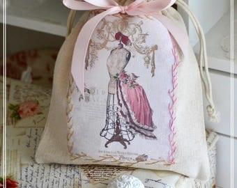 Romantic cotton beige appliqué - Theme model - fashion purse