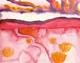 Dream Landscape~ Original Watercolor Painting Print~ Southwest Desert Sunset Landscape